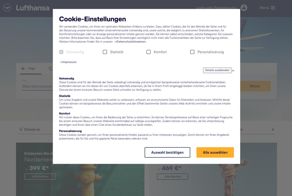 Lufthansa.de - Informationen zum Datenschutz