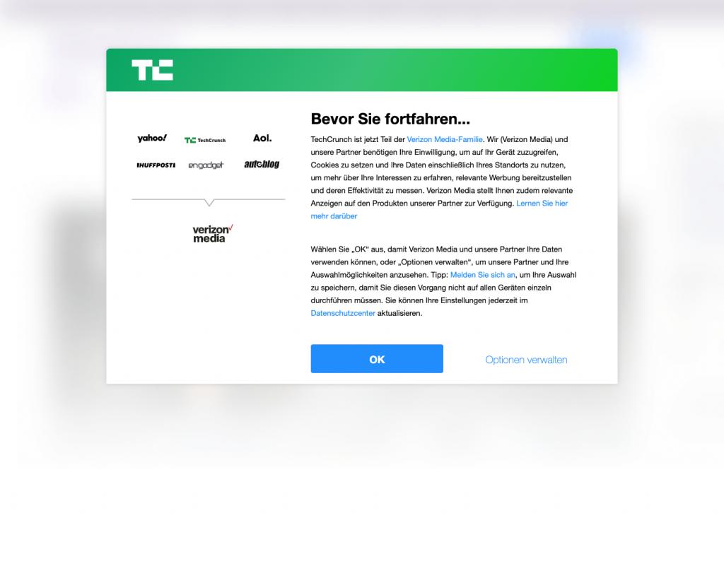Screenshot TechCrunch