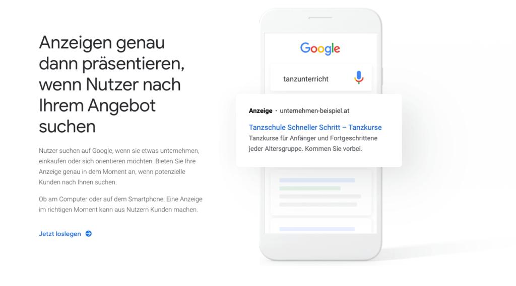 Werbung, Verkauf und Marktforschung mit Google Ads
