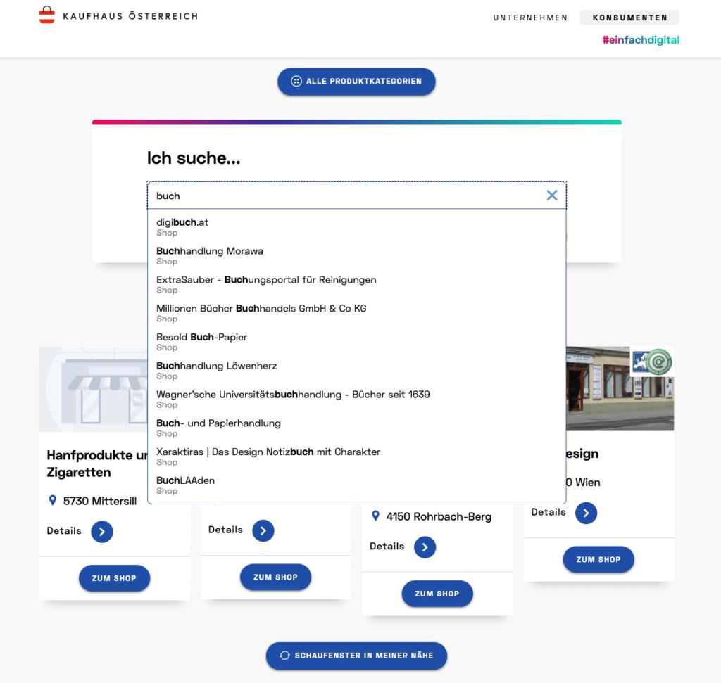 Kaufhaus Österreich - Produkt(kategorie) Suche mehr schlecht als recht